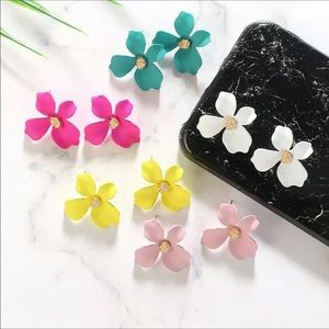 New Fashion Boho Painting Big Flower Ear Earrings